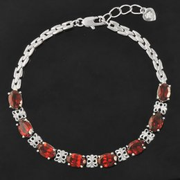 Wholesale 18k Ct Chain - Luxurious natural garnet bracelet high quality 925 Solid Sterling Silver ct garnet silver bracelet garnet stone jewelry for woman