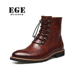 Wholesale new style boots for men - Wholesale-New Arrival Fashion Bullock shoes,Handmade super warm Genuine leather winter boots Men,Casual British style Snow boots for men