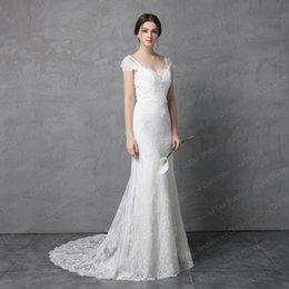 Wholesale Sheath Bow Dress - Bow Tie Back Lace Wedding Dress Real Photo 2017 New Style Cap Sleeve V Back High Quality