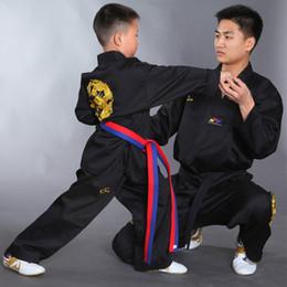 Wholesale Karate Martial Arts - High quality black Tae kwon do uniforms suits TKD taekwondo clothing sets unisex adult child embroidery taekwondo Karate clothes