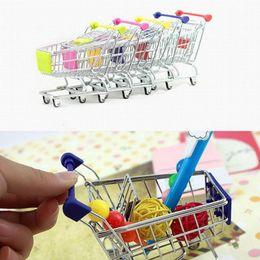 Wholesale Shopping Carts For Supermarket - Mini Supermarket Hand Trolleys Mini Shopping Cart Desktop Decoration Trinket Phone Storage Holder Gifts For Girls Toy