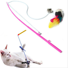 Wholesale Fun Toys Rope - 1pc For Pet Cat Bell The Dangle Faux Mouse Rrubber Bband Rod Roped Funny Fun Play Playing Toy New Free Shipping