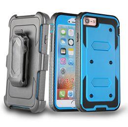 étui hybride zte Promotion 3 en 1 couverture de téléphone hybride robuste Protecteur d'écran intégré et Clip ceinture pour iPhone X 8 7 6S Plus Samsung J3 J5 J7 Premier ZTE Z988 Z986