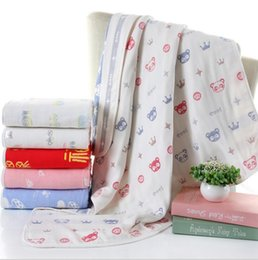 Wholesale Towel Sheet Wholesale - Baby Swaddle Blankets INS Soft Bathing Towels Toddler animal Wrap Kids Swaddling Children Bedding Sheet Shower Towel Six Layers KKA1946