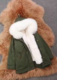 Wholesale Girls Real Fur Jackets - Girid jackets real fur new 2017 aeeival fashion thick warm fur hood parka down baby clothes children's clothes clothing