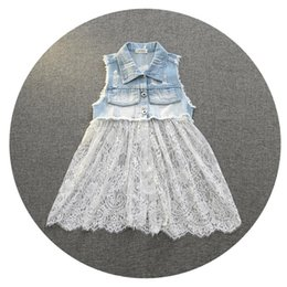 Wholesale Everweekend Girls Denim Ripped Lace Vests With Removable Lace Patchwork White and Black Color Sweet Children Fashion Jackets