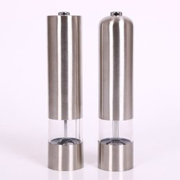 Wholesale Electric Pepper Mills - Salt And Pepper Mill Stainless Steel Electric Salt Grinder For Household Kitchen Cooking Seasoning Tools Wear Resisting 15sb C R