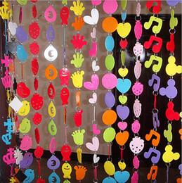 2019 rideaux de porte pvc Vente en gros-chaude 5sets / lot rideau de porte pour le rideau en plastique de PVC de dessin animé mignon de salon, conception de mélange de rideau en décoration de jardin d'enfants rideaux de porte pvc pas cher