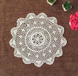 Wholesale Crochet Round Cloths - Wholesale- 45CM DIY Crochet table place mat Placemat pad cloth round coaster cup lace cotton doily Pad mug mat kawaii kitchen accessories