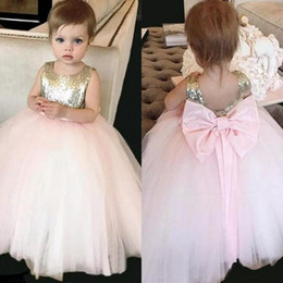Wholesale Graduation Dresses China - Lovely 2017 Champagne Gold Sequined Tull Ball Gown Flower Girls Dresses For Weddings With Big Bow Sash Custom Made China EN8015