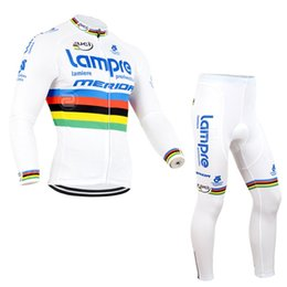 Wholesale Mens Cream Suits - Latest Team Lampre Cycling Jersey Set Long Sleeve Shirt and Long Pants Mens Bike Suits Mens Bike Clothing D0841