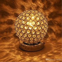 Wholesale crystal k9 table lamp - Luxury K9 Crystal Table Lamp Light Creative ball stainless steel Decoration Lighting For Study Bedroom E27 Bulb AC85-240V