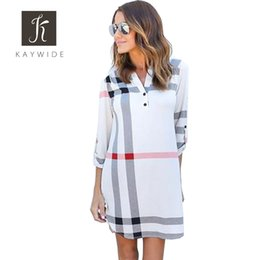 Wholesale Plaid Women S Blouse - Wholesale- Kaywide New 3 4 Sleeve Plaid Womwn Blouse Shirt Dress Autumn Casual Turn-Down Collar Women Dresses Plus Size V Neck Vestidos