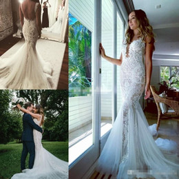 Wholesale Plunging Neckline Mermaid Wedding Dresses - High Quality 2017 New Mermaid Lace Wedding Dresses Sheer Plunging Neckline Applique Beads Backless Court Train Boho Bridal Gowns with Pearls