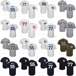 Canada Hommes / Jeunes / Femmes 77 Clint Frazier 55 Sonny Grey Jersey New York Yankees Maillots de Baseball Blanc Gris Marine Taille S-5XL new jersey woman on sale Offre