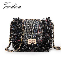 ladies cross body handbags wholesale Promo Codes - Wholesale- Teridiva Designer Cross Body Bag for Women Plaid Chain Bag Small Crossbody Bags With Chain Ladies Handbags Womens Shoulder Bags