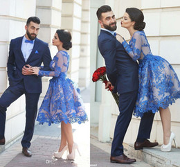 Wholesale Two Piece Skirt Jacket - 2017 Lace Floral Blue A-line Short Prom Homecoming Dresses Puffy Skirt Dubai Arabic Style Long Sleeve Knee-length Graduation Party Gowns