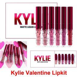 Wholesale Lipgloss Sets - Kylie Jenner lipgloss Cosmetics Matte lipsticks Kylie Valentines collection Lip gloss Valentine Edition Kit Lip 6 Colors set