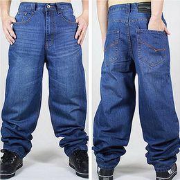 Pantalones holgados blancos para hombre online-Al por mayor-azul 46 nuevos hombres Hip-Hop Jeans para hombre larga suelta monopatín Baggy relajada Denim Casual HIPHOP hombres calle pantalones molino blanco