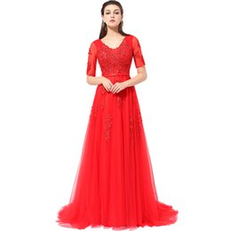 Wholesale Tulle V Neck Long Sleeve - 2017 SSYFashion Red Half Sleeves V-neck Lace Long Evening Dress Cover Back Sweep Train Bride Party Gown Custom Formal Dresses