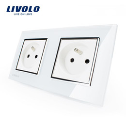 Wholesale Glass Sockets - LS14- LIVOLO 16A French Standard, Wall Electric   Power Double Socket   Plug, Crystal Glass Panel,VL-C7C2FR-11