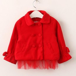 Wholesale Baby Tulle Coat - Kids Girls Coat Baby Girls Tulle Bow Wool Blends Coats 2017 Autumn Infant Princess Turn-down Collar Jackets Outwear Children Clothing B757