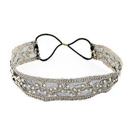 Wholesale Wide Bohemian Headband - Fashion Black Beige Color Elegant Delicate Imitation Pearl With Elastic Ribbon Wide Hair Band For Women