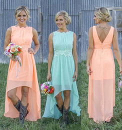 Wholesale Cheap High Low Beach Dresses - 2016 New Cheap Country Bridesmaid Dresses Bateau Backless High Low Chiffon Coral Mint Green Beach Maid Of Honor Dress For Wedding Party Prom