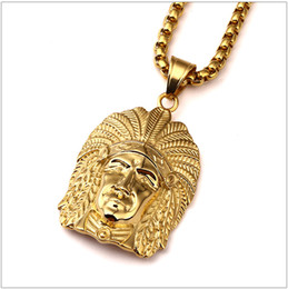 Wholesale Chief Pendant - Hot Mens Hip Hop Jewelry Iced Out 18K Gold Plated Fashion Bling Bling Indian chiefs head Head Pendant Men Necklace Gold Filled For Gift Pres