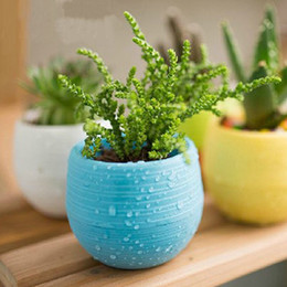 Wholesale flower pot nursery - Gardening Flower Pots Small Mini Colorful Plastic Nursery Flower Planter Pots Garden Deco Gardening Tool free DHL