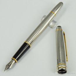 fonte dourada Desconto Caneta-tinteiro de luxo Alemanha Marca prata / clipe dourado P163 metal MB Caneta de luxo com número de série
