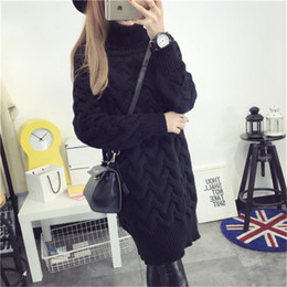 Wholesale Thicker Dress - Wholesale- De DoveOctagonal high collar pullover sweater Girls long section of thicker Korean tidal sweater dress thick winter coat hedging