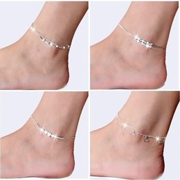Wholesale White Feather Rose - New 925 Sterling Silver Anklets For Women Ladies Girls Unique Nice Sexy Simple Beads Heart Rose Silver Chain Anklet Ankle Foot Jewelry Gift