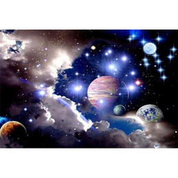 Wholesale Planets Live - Universe Sky Planet Galaxy Full Drill DIY Mosaic Needlework Diamond Painting Embroidery Cross Stitch Craft Kit Wall Home Hanging Decor