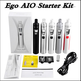 Wholesale Ego Batteries Dhl - Top quality joyetech eGo AIO Kit With 2.0ml Capacity 1500mAh Battery Anti-leaking Structure Vape Ecigarette 5 colors via DHL
