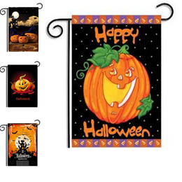 Wholesale Cat Flags - 30*45CM Garden Hanging flags Hallowmas Pumpkin Cat Flag Home Garden Courtyard Decoration Xmas Ornament Free Shipping