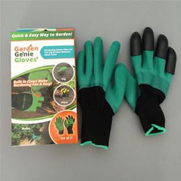Wasserdichte gartenhandschuhe online-Garden Genie Handschuhe mit 4 Fingerspitzen Claws Green Dig und Pflanze sicher Gartenhandschuhe Garten wasserdichte Digging Handschuhe