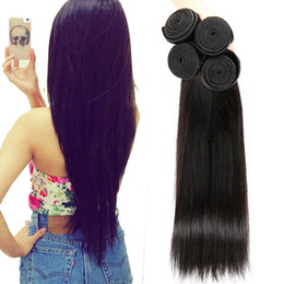 Wholesale Virgin Hair Brazilian Vendor - On Sale Unprocessed Virgin Human Hair Weaves Natural Black Straight Dhgate Vendor Best Selling Items Malaysian Indian Peruvian Cambodian