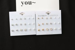 Wholesale Earrings Supplies - wholesale western style Silver and gold simple explosions Jewelry earrings diamond round pearl 9 set Studs factory direct supply