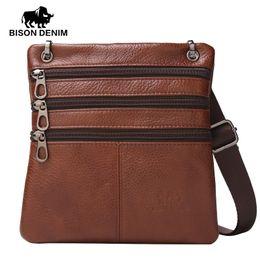 Wholesale Thin Cell Phones For Men - Wholesale- BISON DENIM Brand Genuine Leather Crossbody Bag for men Thin silm Vintage Messenger Bag Personalized small mini bag men gift