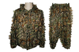 Wholesale Clothing Hunting Suit - 3D Men Hunting Camouflage clothes maple leaf Bionic Yowie sniper birdwatch airsoft Clothing forest Ghillie Suits a set price