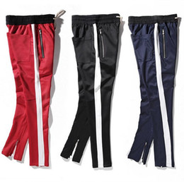 Wholesale Cargo Bottoms - 2017 New side zipper pants hiphop Fear Of God Fashion urban clothing red bottoms justin bieber FOG jogger pants Black red blue Free Shipping