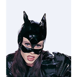 Wholesale Sexy Leather Suit Halloween Costumes - Women Black Faux Leather Cat Mask Wet Look Headwear Halloween Party Holiday Cosplay Masks Sexy Accessory
