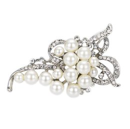 Wholesale Tungsten Brooch - Silver Plated Cream Pearl and Rhinestone Crystal diamante Bow shape Brooch