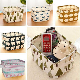 Wholesale Toy Fabric Ships - Laundry Storage Baskets Box Portable Cotton Linen Foldable Basket Cloth Toy Snack Organizer DHL Free Shipping