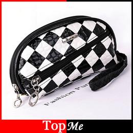 Wholesale Patent Hobo - Wholesale- New fashion women zipper wallets Coin Purse Patent PU leather Black White Plaid money keys bags woman wallet Free Shipping