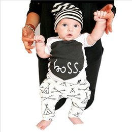 Wholesale Boys T Briefs - wholesale 2016 kids boys letters clothes baby 2 pieces clothing toddler summer sets children casual short sleeve t-shirt pants suit