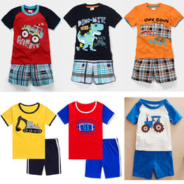 Wholesale Boys Leopard Shirts - 2018 Baby Boy Clothes Suits Summer Children T-Shirts Shorts Pant 2-Piece Clothing Set Beach Kids Outfits Sport Suit 2 3 4 5 6 7 Years Tees