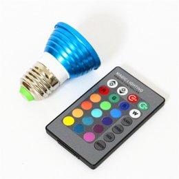 Wholesale E27 Watts - 3 Watt Color-Changing LED Light Bulb with Remote Control E27 GU10 MR16 LED Lights 16 Colors 250LM Spotlight