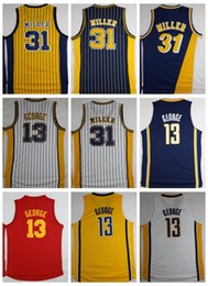 Wholesale Men S Red Stripe Shirt - Throwback Killer Basketball Jerseys #31 Reggie Miller Stripe Jerseys 13 Paul George Jersey Classic Red Retro Stitched Shirts High Quality